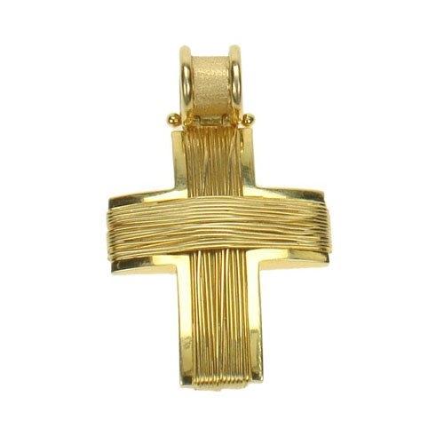 Βαπτιστικός Σταυρός σε Χρυσό Πλεχτός με Σύρμα