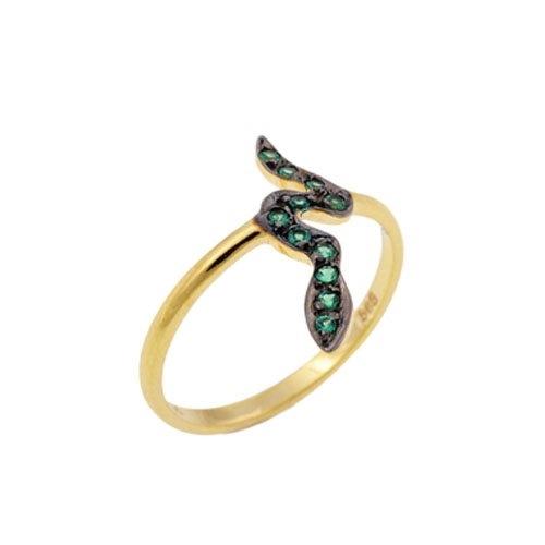 Χρυσό Δαχτυλίδι Φίδι με Ζιργκόν