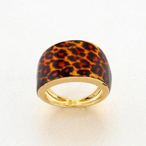 Χρυσό Δαχτυλίδι Λεοπάρ με Σμάλτο