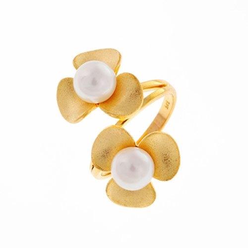 Χρυσό Δαχτυλίδι Λουλούδια με Μαργαριτάρια