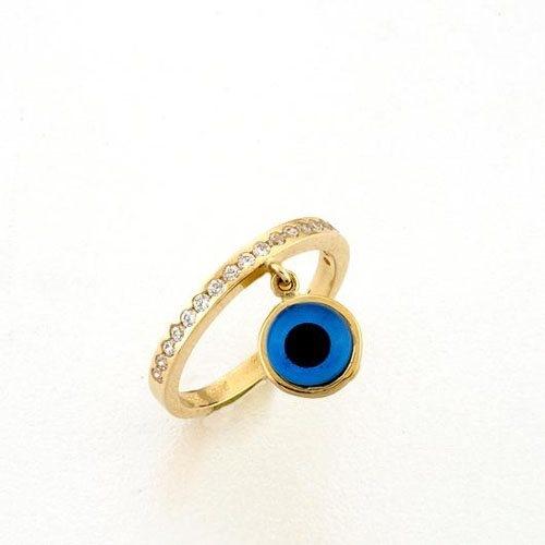 Χρυσό Δαχτυλίδι με Κρεμαστό Ματάκι Murano και Ζιργκόν Signity