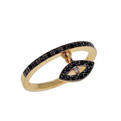 Χρυσό Δαχτυλίδι με Κρεμαστό Μάτι και Ζιργκόν