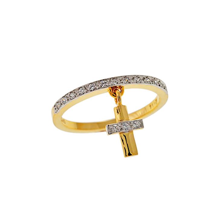 Χρυσό Δαχτυλίδι με Κρεμαστό Σταυρό και Ζιργκόν