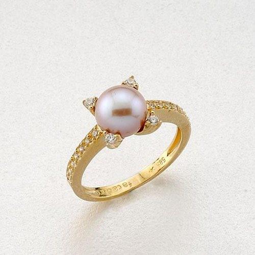 Χρυσό Δαχτυλίδι με Μαργαριτάρι και Ζιργκόν Signity