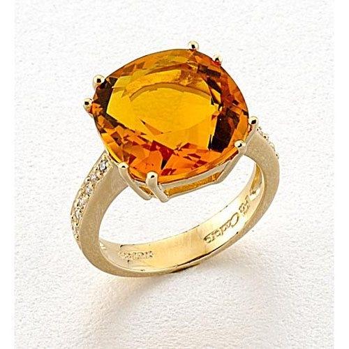 Χρυσό Δαχτυλίδι με Σιτρίν και Ζιργκόν Signity