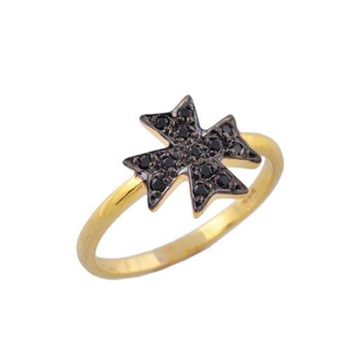 Χρυσό Δαχτυλίδι Σταυρός με Ζιργκόν