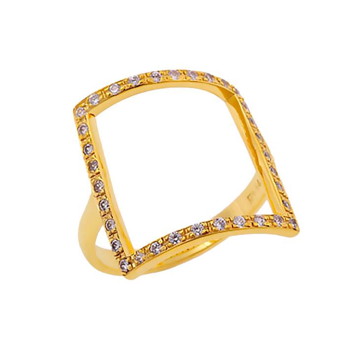 Χρυσό Δαχτυλίδι Τετράγωνο με Ζιργκόν