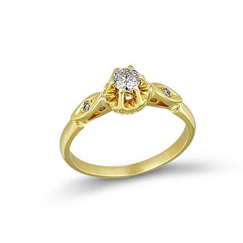 Χρυσό Μονόπετρο Δαχτυλίδι με Μπριγιάν