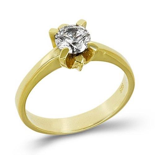 Χρυσό Μονόπετρο Δαχτυλίδι με Ζιργκόν