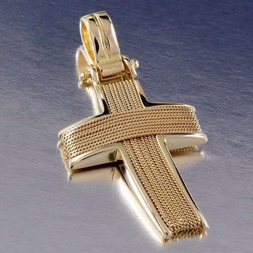 Χρυσός Βαπτιστικός Σταυρός Πλεχτός με Σύρμα