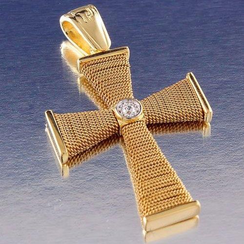 Χρυσός Βαπτιστικός Σταυρός Πλεχτός με Σύρμα και Ζιργκόν